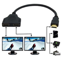 2016 Hot HDMI 1 Male To Dual HDMI 2 Female 30cm Y Splitter Cable Adapter Version 1.4 HD LED LCD TV(China)