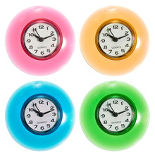 Silicone Bathroom Kitchen Shower Suction Wall Clock Multicolor Water-Resistant Timer Glass Wall Window Mirror Shower Clock(China)
