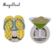 MagiDeal 2 Pcs Goblet and Sandals Golf Ball Marker with Magnetic Hat Clip Novelty Golf Gift(China)