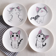 New  Cute Cartoon Cat Creative Cuisine Dishes White Ceramic Plates Steak Western-style Food Rice Soup Bone China Tableware Tray