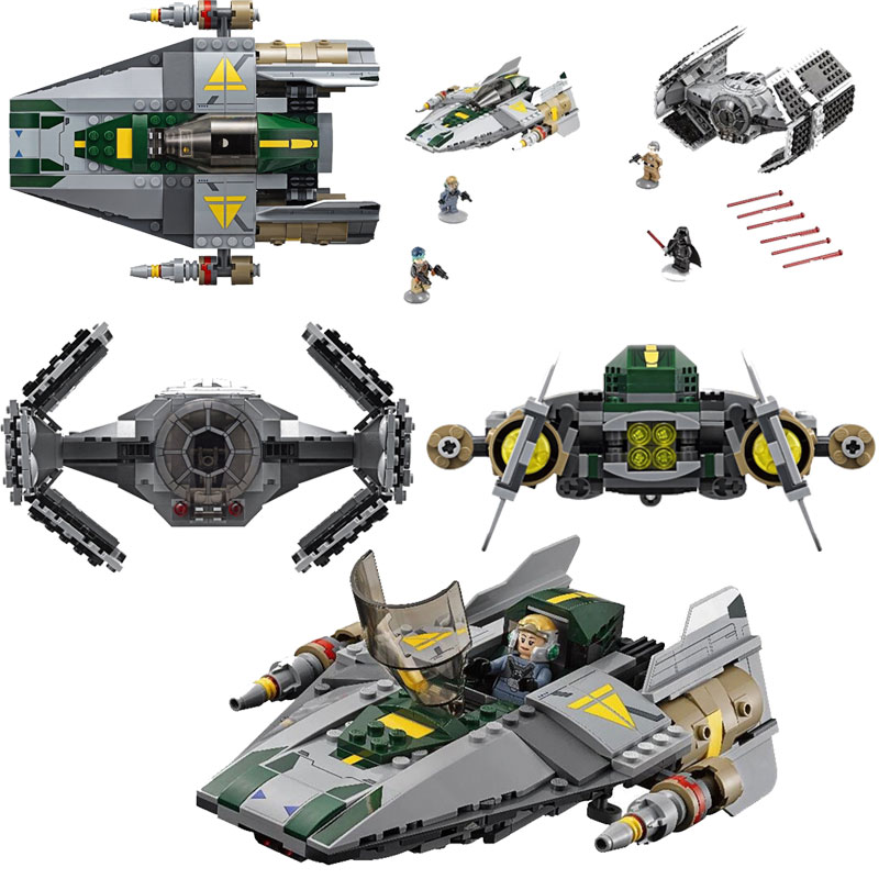 Lepin 05030 722Pcs Space War Rogue One Vaders TIE Advanced VS A-Wing Starfighter Building Blocks Bricks Toys Kids Gift 75150<br>