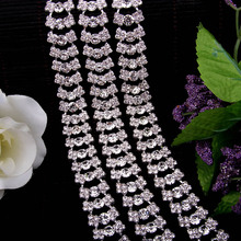 1Yard 2CM Silver Moon Flatback Crystal Alloy Rhinestones Trims Applique for Clothes Bags Hats Trimmings DIY High Quality