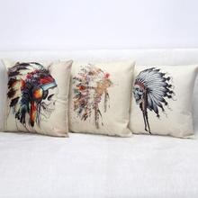 Hot Sale Indian Skeleton Headdress Square Cushion Home Sofa Office Linen Decorative Waist Cushion Halloween Gifts Wholesale
