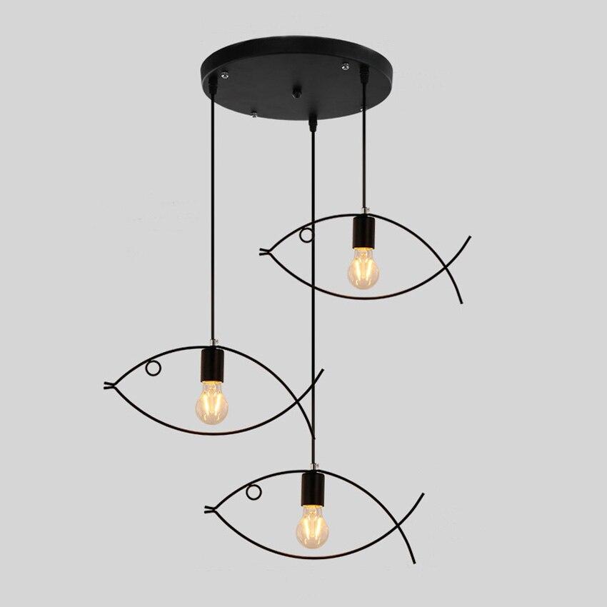 Wrought iron chandelier lights lamp for living room,1-3 heads fish shape indoor lighting hanging light restaurant light fixtures<br>