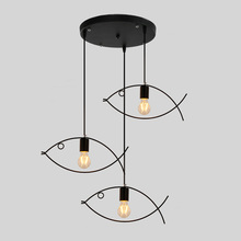Wrought iron chandelier lights lamp for living room,1-3 heads fish shape indoor lighting hanging light restaurant light fixtures(China)