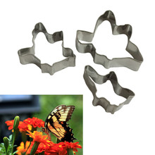 3pcs/set Stainless Steel Metal Fondant Cake Mold Butterfly Sugar Paste Cookie Cutters Biscuit Cake Decorating Tools Rice Molded(China)