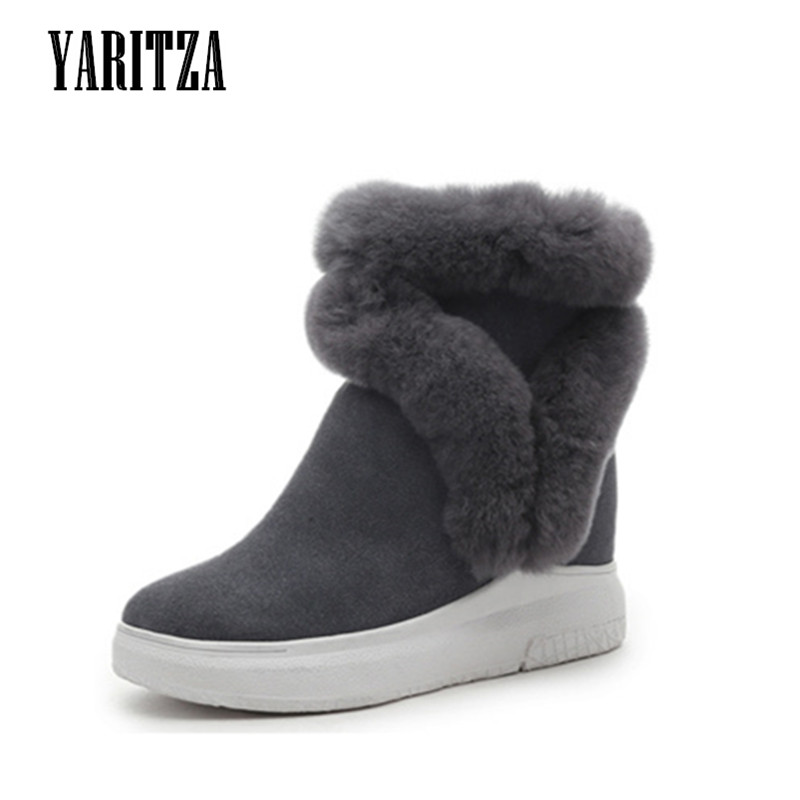 YARITZA 2017 New Fashion Women Winter Snow Boots Fur Leather High Quality Women Warm Boots Casual Snow Ankle Boots Women Shoes<br><br>Aliexpress