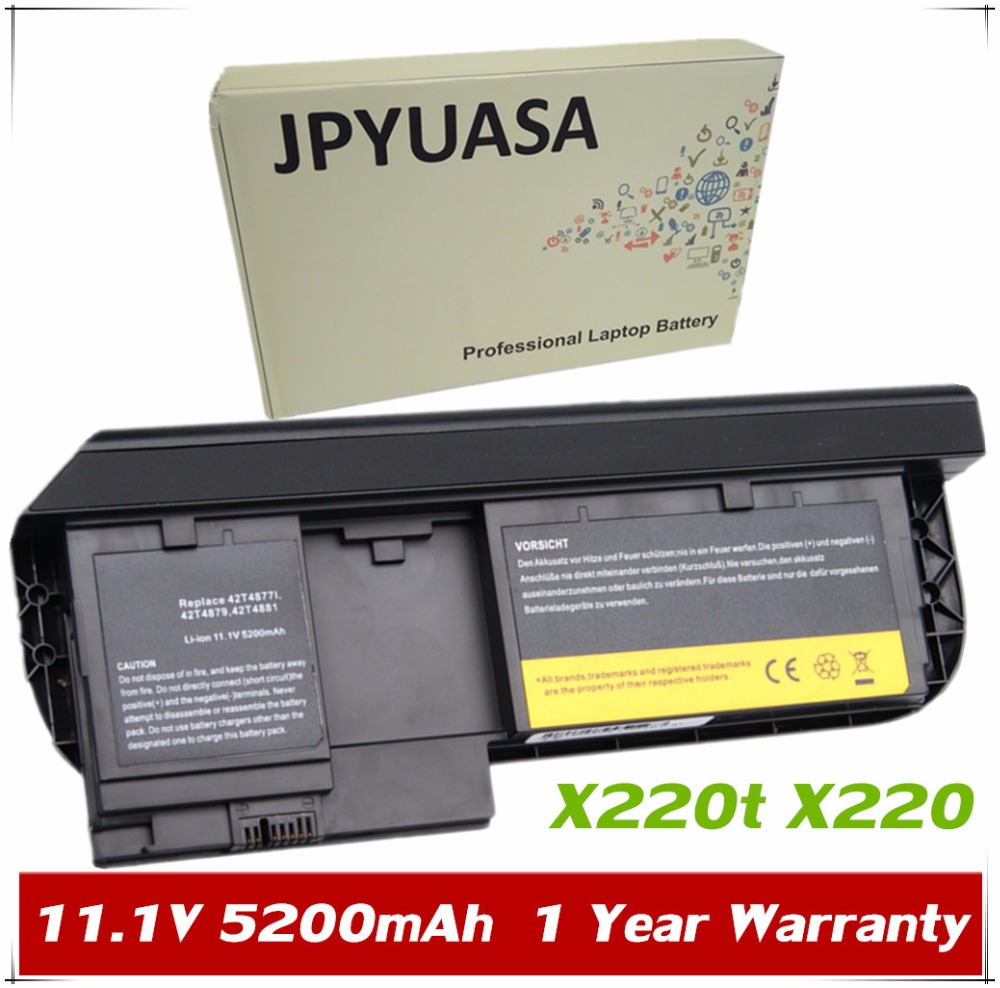 JPYUASA 11.1V 5200mAh Battery For Lenovo ThinkPad X220t X220 Tablet 0A36285 0A36286 42T4877l 42T4879 42T4881