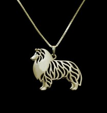 Standing Shetland Sheepdog Necklace Choker 3D Hollow Animal Lover Pendant Memorial Necklaces Christmas Gift For Women Friend