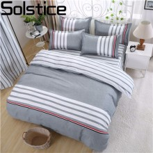Solstice Home Textile Simple Stripes Gray Printing Bed Set Single Queen/King Size 3/4pcs Bed Linen Bedclothes Bedding Sets