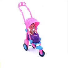 Cute Plastic Doll Trolley+Kids Chair Doll Furniture Accessories Barbie Doll Small Cart Chair Children Kids Toys Girls best  Gift
