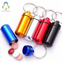 Free shipping 10pcs/lot Micro 6 colors Pill box case Cache Container Geocache Geocaching Key rings keychain holder(China)