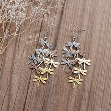 "8SEASONS New Fashion Earrings Ear Wire Hooks Dragonfly Animal dull silver-color Rose gold-color Hollow 7.6cm(3"") long, 1 Pair"