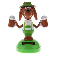 Solar Powered Dog with Beer Dancing Flip Flap Car Home Office Desk Ornament Decoration Dancer Bobble Head Toy Kids Chrismas Gift(China)