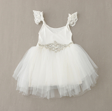 New Kids Baby Fairy Tulle Lace Beading Dresses With Shine Belt, Princess Girls White Bridemaids Clothes  5 pcs/lot, Wholesale