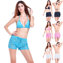 Summer Beach Women Shorts Swimwear Swimsuit Bathing Suit White Black Pink Blue Sexy Crochet Transparent Lulu Beach Board Shorts