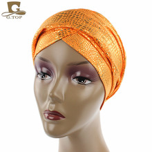 2017 NEW Luxury metallic Head Wrap African head Scarf for women jewish long Turban Women Headwraps Chemo Headscarf