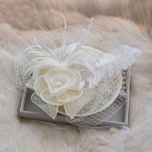 Foreign trade import ostrich hair net gauze flax bride hats sell like hot cakes The bride hairpin tiara hair accessories