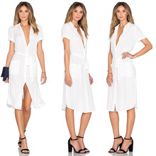 New Fashion Womens Summer Sexy Dress Solid White New Chic Summer Out Wear Clothes Fashion Summer Beach Dress Party Club Wear NEW