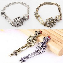 1 Pc Bracelets Vintage Rock Gothic Style Double Skeleton Skull Bangle Bracelet 2 Colors  Fashhion Jewelry New Arrival