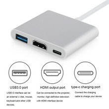 Type C to HDMI 4K Ultral HD Adapter 3 in 1 Hub Cable NiUB5 Type C USB 3.0 to USB HDMI for Macbook Multifunction HDMI Adapter(China)