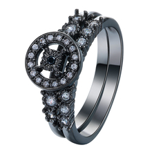 round square hollow clock vintage black gun promise Rings set new jewelry gift princess czech zircon Engagement Ring for women