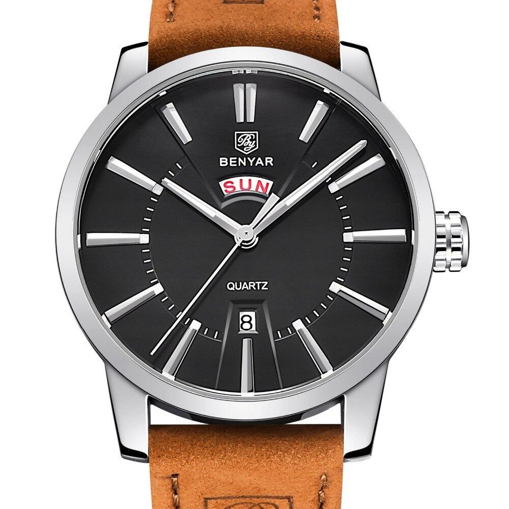 BENYAR Leather Strap Double Calendar Fashion Quartz Watch Luxury Brand Mens Watch 30M Waterproof Casual Watch Relogio Masculino<br>