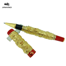 JINHAO Golden TWO DRAGON PLAY PEARL ROLLER BALL PEN CRYSTAL FREE SHIPPING