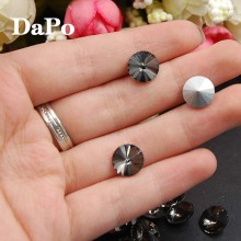 Pointback Rivoli Glue On Stones Gray/Black Diamond Color 8mm 10mm 12mm 14mm 16mm 18mm Round Glass Crystal  No Hole Dress Making