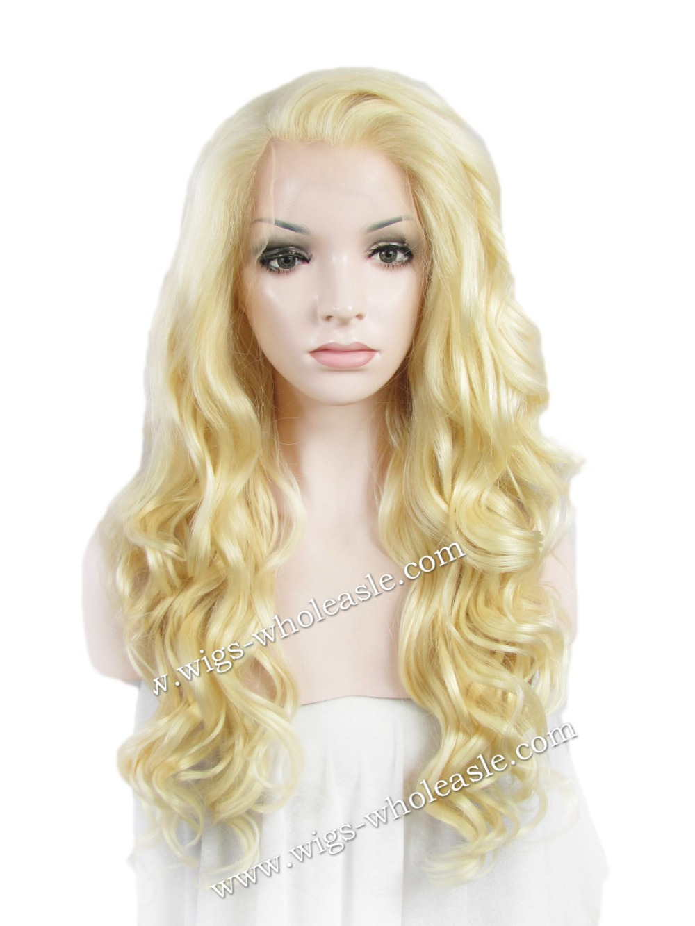 Long Wavy Blonde Celebrity Party Blonde Cosplay Synthetic Lace Front Wig<br><br>Aliexpress