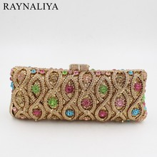 Luxury Diamond Vintage Crystal Long Shape Clutch Bag Golden Designer Women Evening Handbag Wedding Party Purses SMYZH-F0084(China)