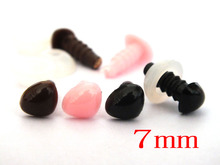 Free Shipping!! 30pcs 7mm Safety Triangle Nose Teddy Bear Noses Wholesale,brown/ pink/black--Each color 10pcs