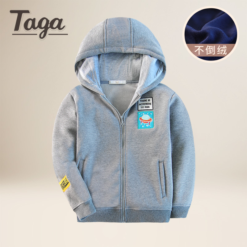 TAGA 2017 New Winter Kids Thick Hoodie Coat Fashion Solid Causal Velvet Jacket sweatshirts Baby Boys girl Outerwear Warm clothes<br>