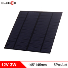 ELEGEEK 5Pcs/Lot 3W 12V Mini Solar Cell Panel 145*145mm Polycrystalline PET Solar Panel for Test and DIY Solar system 145*145mm