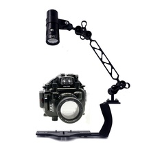 Underwater Waterproof Housing Diving Case for Olympus E-M1 E-M5 E-M5 II E-M10 Camera + Lighting Arm Bracket + Led Video Torch