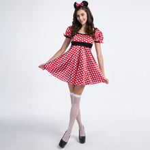 Minnie mouse traje atractivo de las mujeres lovely girl fancy dress red polka dots animal disfraces de carnaval de disfraces adultos más tamaño