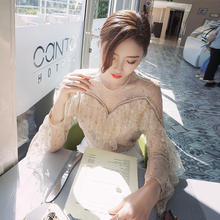 OFTBUY 2017 summer top korean dot snowflake sequin beading hollow out long sleeve sexy black shirt women lace ruffle blouse