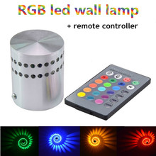 LED Wall Light 3W AC85-265V RGB Wall Lamp KTV Karaoke Bar Decoration LED RGB Bulb with 24 Keys Remote Control(China)