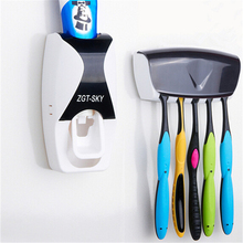 1 set Tooth Brush Holder Automatic Toothpaste Dispenser + 5 Toothbrush Holder Toothbrush Wall Mount Stand Bathroom Tools(China)
