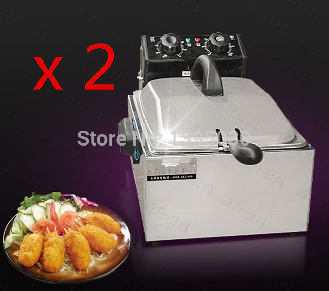 2PCS/Lot  5.5L Electric Commercial Deep Fryer Single Basket Steel Fried Chicken Maker Clocked Fryer<br><br>Aliexpress