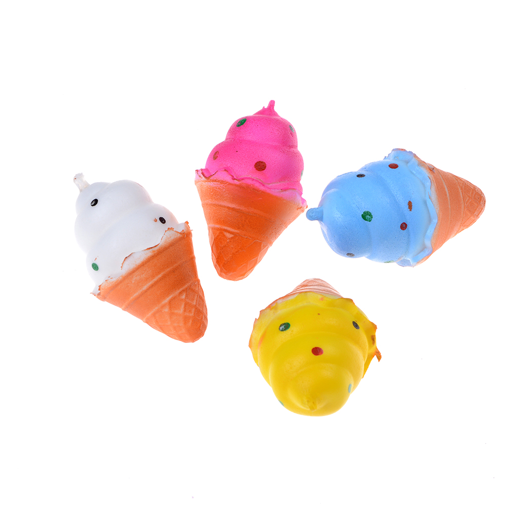 Automobiles Wholesale Slow Rising Soft Package Mobile Phone Strapes Kitchen Toys Super Jumbo White Ice Cream Cone Squishy Scented Rich And Magnificent