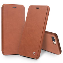 QIALINO Genuine Leather Flip Case for iPhone 8 Luxury Ultra Slim Pure Handmade Cell Phone Cover for iPhone 8 plus 4.7/5.5 inch(China)