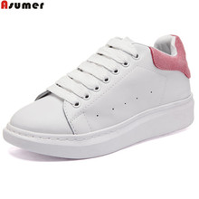 Asumer black pink fashion spring autumn women shoes round toe ladies genuine leather flats shoes casual sneakers single shoes(China)