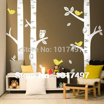 free shipping oversized Birch Tree Wall Decals for nursery- Baby nursery room art mural vinyl wall decor stickers