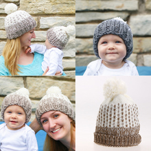 Cute Mommy and Me Knitting Hats and Caps White Balls Warm Winter Knitted Cap Baby Hair Hat Mom Knit bebe Hats for Girls