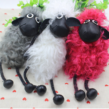 2017 Hot Sell Sheep Shaun Key chain Pom pom real lambs wool fur genuine keychain Car Key Ring Monster Keychain Jewelry Gift
