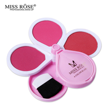 Make Up Face 4 Colors Flower Shape Blusher Palette women Makeup Maquiagem Blush Powder With Brush &Mirror By Brand Miss Rose(China)