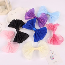 4 Solid Colors Silky Ribbon Cloth Gauze Bow Knot Purple Red Pink Yellow Hair Clips Barrettes Children Girls Women Headwear