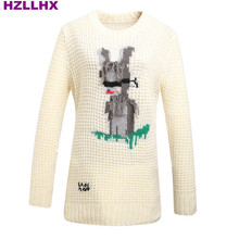 HZLLHX autumn and winter news women and men offwhite thick sweater cute blind rabbit monkey embroidery knit jumper top free ship
