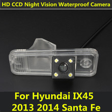 Car CCD 4 LEDs Night Vision Reverse Backup Parking Rearview Reversing Rear View Camera For Hyundai IX45 2013 2014 Santa Fe
